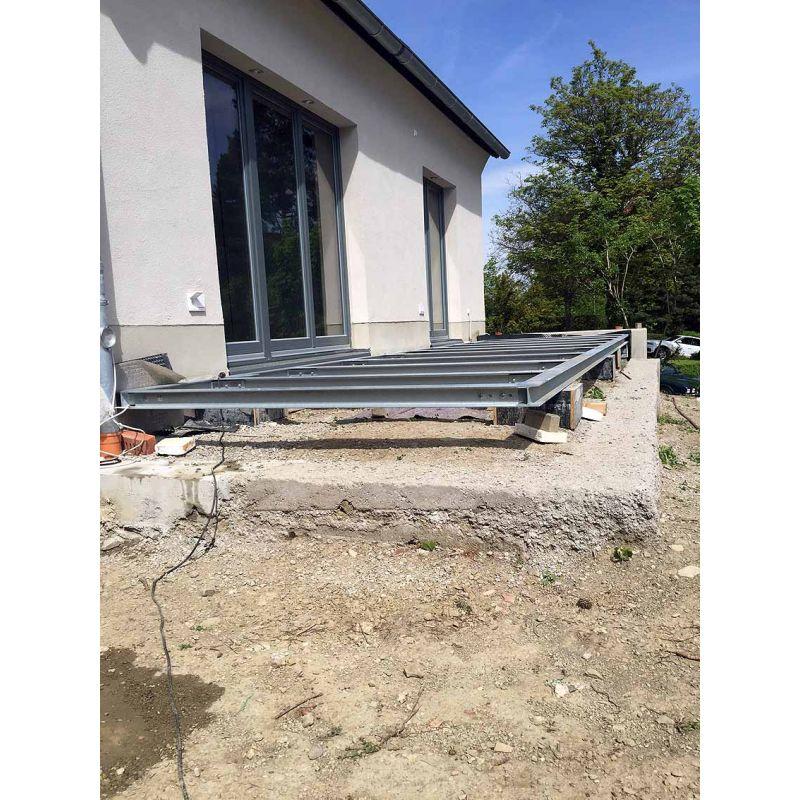 Stahl Terrasse terrasse 2m* 15m unterkonstruktion stahl verzinkt, siku schuco