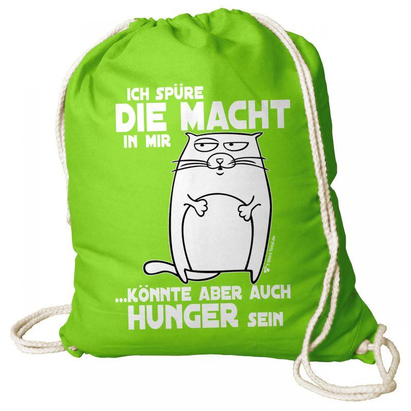 b4a033de7c218 Turnbeutel Rucksack mit Spruch Ich Spüre die Macht Tasche Gym Bag hellgrün